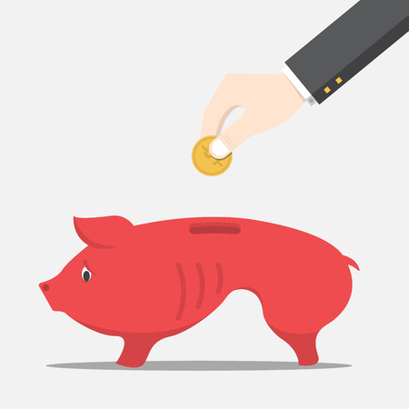 Businessman will dropping the coin into the skinny pig money box, Vector, Illustration Иллюстрация
