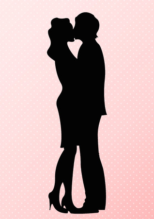 Romantic cute couple silhouette. Lovers women and man kissing, Vector, Illustration