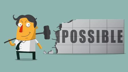 boss cartoon: The determined businessmen who break the barrier of fear with hammer. Turning the word Impossible to Possible.  Vector, Illustration Illustration