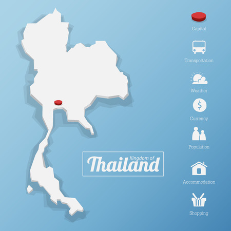 Kingdom of Thailand map. Including tourism icon in flat design for modern infographic, Vector, Illustration