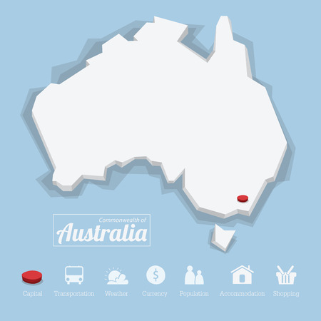 commonwealth: Commonwealth of Australia map. Including tourism icon in flat design for modern infographic, Vector, Illustration