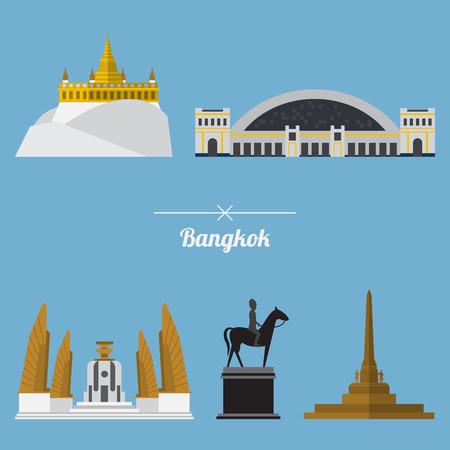 Icon set of Bangkok city landmark in flat design. Capital of Thailand. Vector. Illustration Vectores