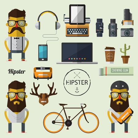 fixed: Hipster character with set of Hipster icon in flat design. Vector. Illustration