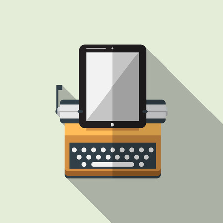 storytelling: Flat icon of typewriter combine tablet with long shadow. Vector. Illustration Illustration