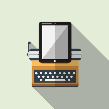 maquina de escribir: Icono plana de la m�quina de escribir combinan tableta con larga sombra. Vector. Ilustraci�n Vectores