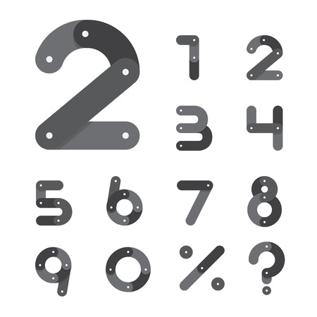 Bicycle chain number set in flat design icon. Vector. Illustration. Vector