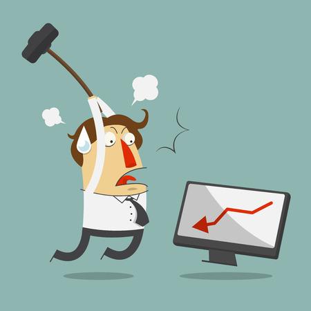 persona enojada: Hombre de negocios frustrado furioso golpear el ordenador. Personaje de dibujos animados. Vector,