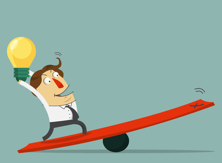 lever: Businessman hold the bulb of idea and stand on the lever. The way to success with his idea. Cartoon character. Vector. Illustration