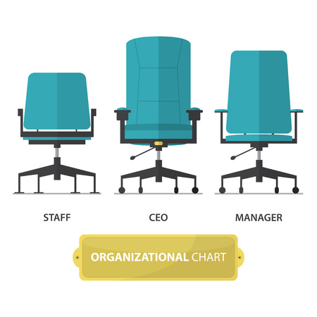ceo: Organizational chart icon, CEO chair, Manager chair and Staff chair in flat design. Vector Illustration