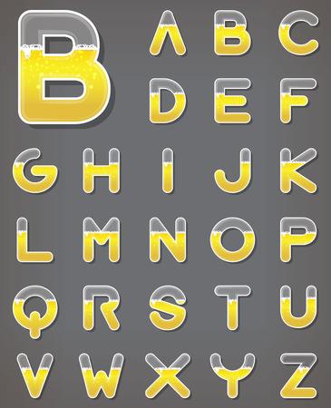alphabet beer: Beer letters set. Beverage alphabets. Fonts. Vector. Illustration.