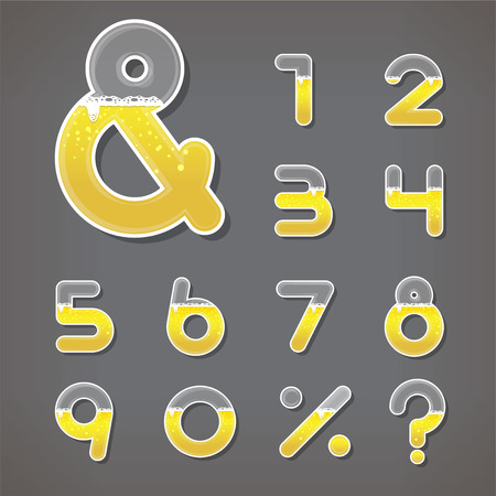 Beer numbers set and ampersand letter. Fonts. Vector. Illustration. Vector