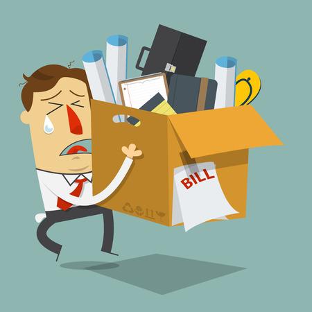 weep: Businessman quite job. Resign form work. Dismissed employee. Cartoon character. Vector Illustration.
