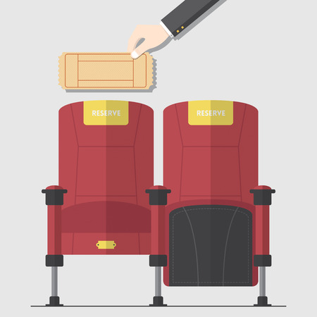 vector chair: Two red cinema chair in flat design with hand holding blank movie ticket. Vector. Illustration. Illustration