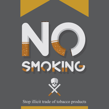 31st: May 31st World No Tobacco Day poster. No smoking sign in cigarette letters. Icons. Vector. Illustration