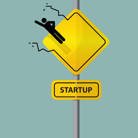 Sign of entrepreneur launching. Startup wording on road sign. Vector. Illustration Vector