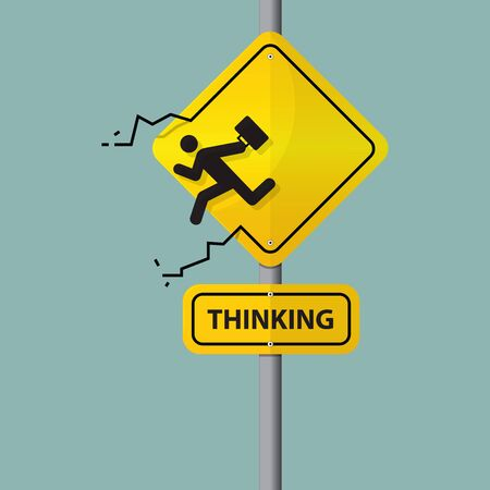 resign: Sign of businessman icon who thinking out of the box. Pictogram on road sign. Vector. Illustration