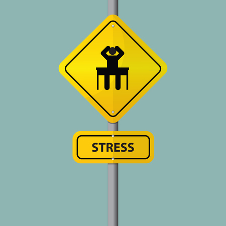 tried: Businessman seriously pressure in workplace. Pictogram icon with stress wording on road sign. Vector. Illustration