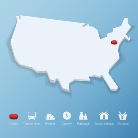 tourismus icon: Vereinigte Staaten von Amerika Karte im Low-Poly-Design. Einschlie�lich Tourismus-Symbol im flachen Design f�r moderne Infografik, Vektor, Illustration