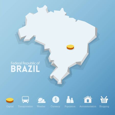 Federal Republic of Brazil map. Including tourism icon in flat design for modern infographic, Vector, Illustration Vector