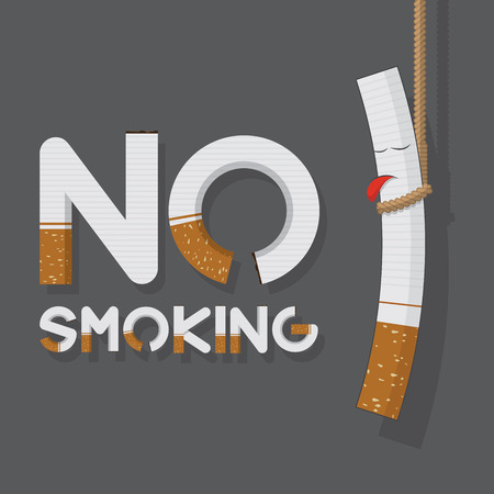 smoke: May 31st World No Tobacco Day poster. No smoking sign in cigarette letters and hanging cigarette. Icons. Vector. Illustration