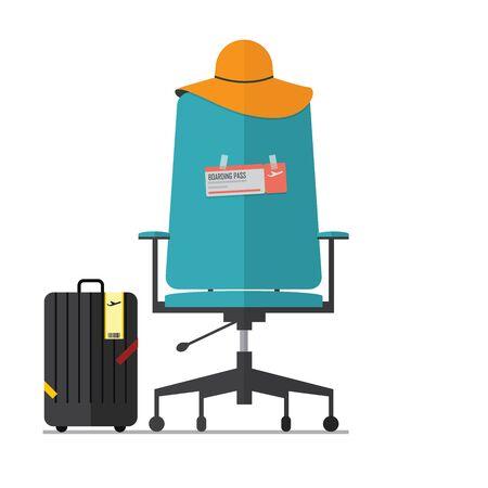 Diseño plano de la silla de oficina vacía con el boleto pelea. Jefe o Empleado tienen unas vacaciones. Vector. Ilustración. Ilustración de vector