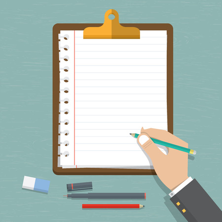 writing pad: Vector modern flat design on hand holding pencil with empty sheet of paper . Classic brown clipboard with blank white paper. Vector. Illustration.