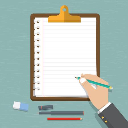 hombre escribiendo: Vector moderno diseño plano en la mano que sostiene un lápiz con la hoja de papel en blanco. Sujetapapeles marrón clásico con papel blanco. Vector. Ilustración.
