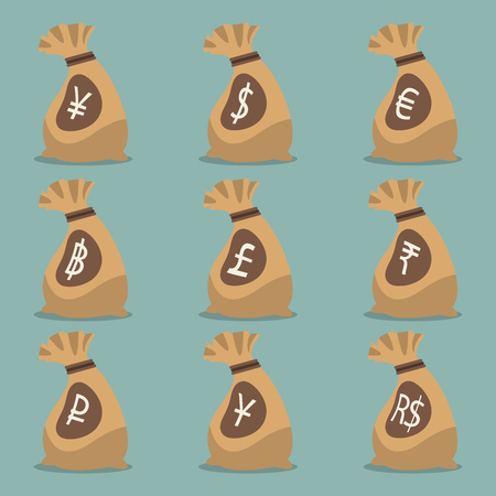 rupee: Money bag with international currency symbol . Vector. Illustration. Illustration