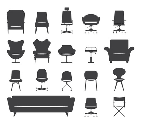 armchair: Icon set of silhouette modern furniture chair and sofa . Vector. Illustration