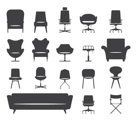 Jogo do ícone da silhueta moderna cadeira de mobiliário e sofá. Vector. Ilustração