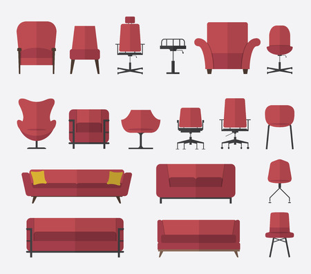 couches: Flat design icon set of chair and sofa in marsala color. Vector. Illustration.