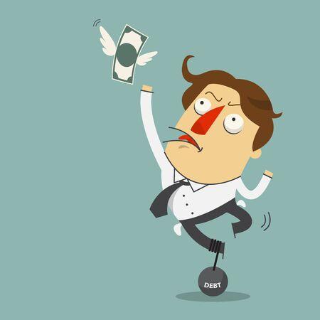 flying money: El dinero est� volando lejos de tristeza empresario que estaba sujeta con el p�ndulo de acero de la deuda. Personaje de dibujos animados. Vector,