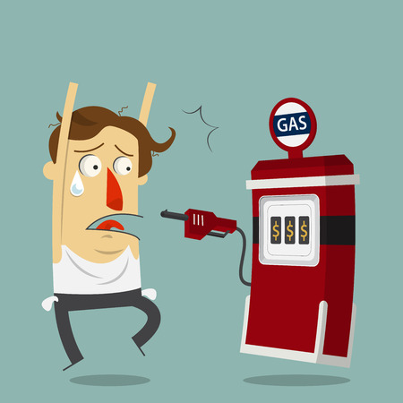 robo de autos: El hombre de negocios por robar gasolinera. Personaje de dibujos animados. Vector. Ilustración