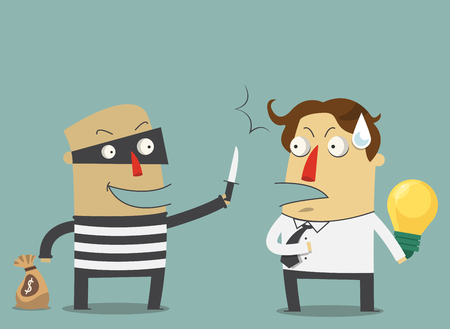 steal brain: Bandit are robbing the idea of a businessman. Vector. Illustration. Illustration