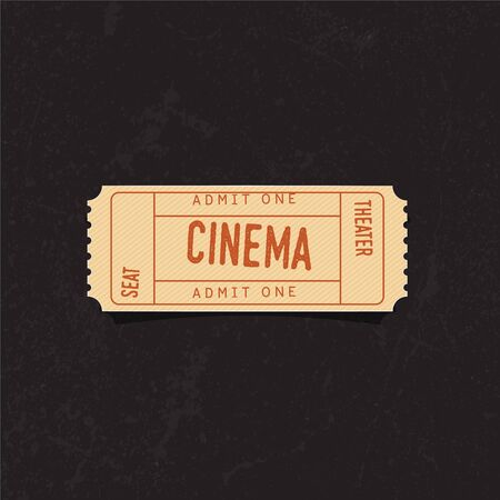 Vintage cinema ticket over grunge background. Concrete texture. Vector Illustration.