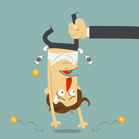 Hand shaking money from broke man crying. Cartoon character. Vector Illustration.