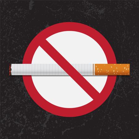 在难看的东西背景的禁烟标志在5月31日世界没有烟草日。矢量图。