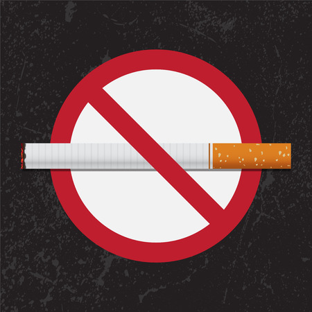 tobacco: No Smoking sign on grunge background for May 31st World No Tobacco Day. Vector Illustration.