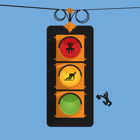 stop light: Traffic light with businessman icon in three action, stress, start up, jump, Vector Illustration.