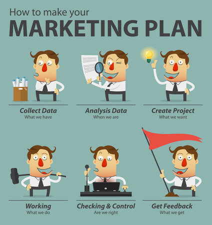 Marketing plan infographics. Cartoon character. Vector Illustration. Ilustrace