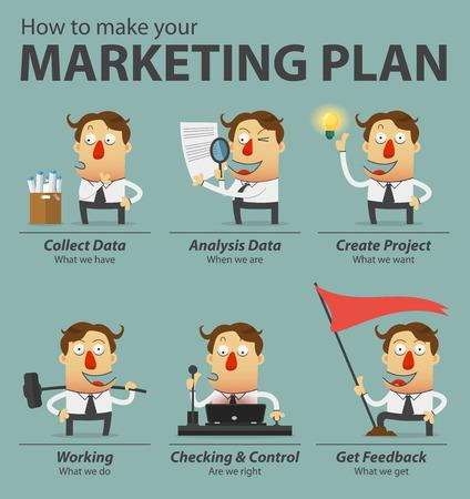 Marketing plan infographics. Cartoon character. Vector Illustration. Stock Illustratie