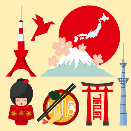 Set of Japan icon in flat design. Vector Illustration Çizim