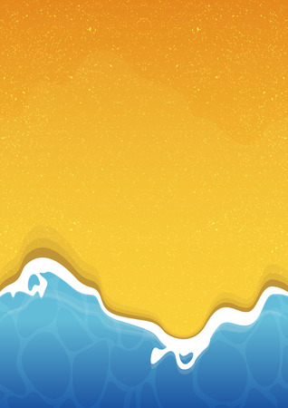 Summer beach texture background with sea and sand. Vector Illustration.