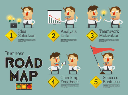 teamwork cartoon: Business planning road map infographic. Cartoon character. Vector Illustration. Illustration