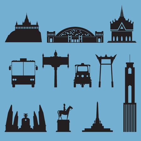 バンコクの街のランドマークのシルエット アイコン セット。タイの首都。ベクトル図
