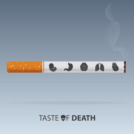31 mei Werelddag zonder tabak poster. Gif van sigaretten. Vector. Illustratie Key