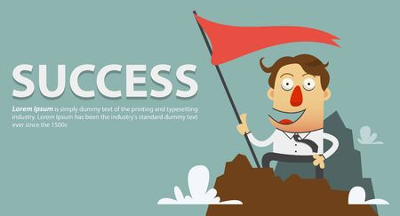 no1: Businessman planting success flag on the top of the mountain. Cartoon character. Vector Illustration.