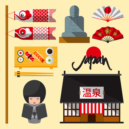 Set of Japan icon in flat design. The Japanese letters mean Onsen  hot spring. Vector Illustration