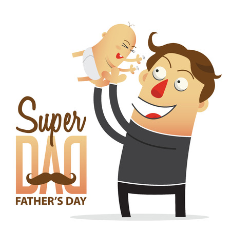 and father: Father holding his son with wording super dad for Fathers Day Poster. Cartoon character. Vector Illustration.