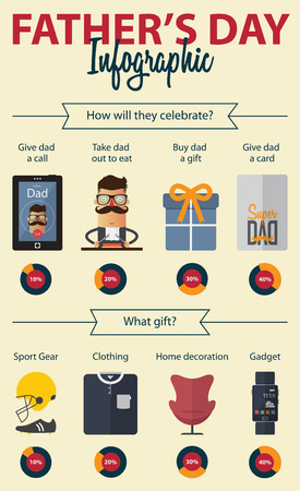 gadget: Fathers  Day infographics. Cartoon character. Vector Illustration.